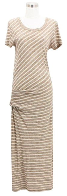 Item - Brown Beige A08 Designer Small S Striped Long Casual Maxi Dress Size OS (one size)