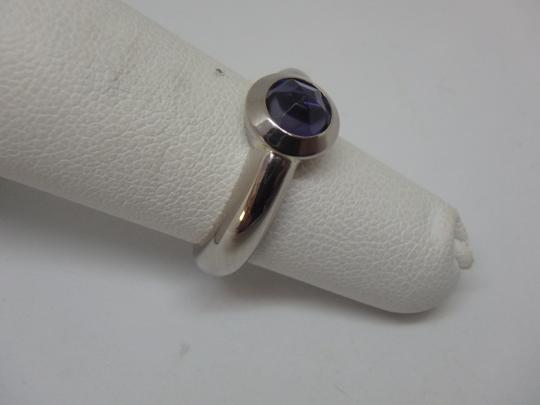 Tiffany & Co. France Bullet Shape Iolite 18k White Gold Solitaire Ring Image 4