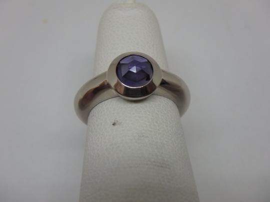 Tiffany & Co. France Bullet Shape Iolite 18k White Gold Solitaire Ring Image 5