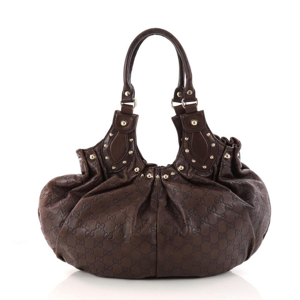 7ca3d80579be ... 524ee7dd821 Gucci Pelham Studded Guccissima Medium Brown Leather  Shoulder Bag .