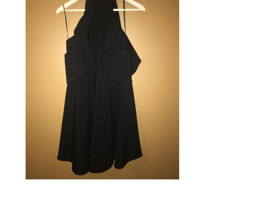 LIKELY Black Ruffled Cold Shoulder Short Night Out Dress
