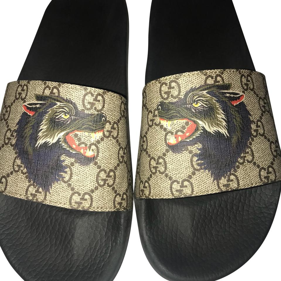 5cef9c166321 Gucci Gg Supreme Slides with Wolf Sandals Size US 10 Regular (M