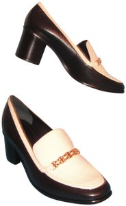 Tory Burch Gemini Link & White Patent Leather Loafers Black/Bleach Pumps