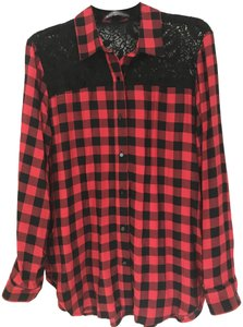 Elliott Lauren And Checkered Lace Top Red & Black
