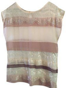 Unknown Lace Sheer Stripe Luxury Thin Top cream
