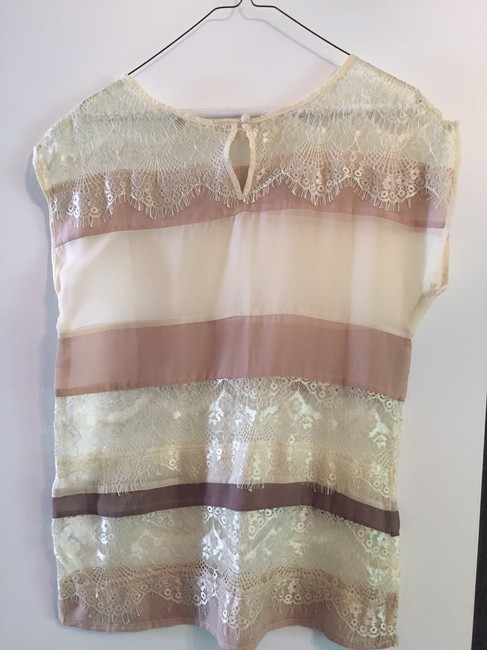 Unknown Lace Sheer Stripe Luxury Thin Top cream Image 1