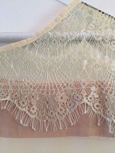 Unknown Lace Sheer Stripe Luxury Thin Top cream Image 3