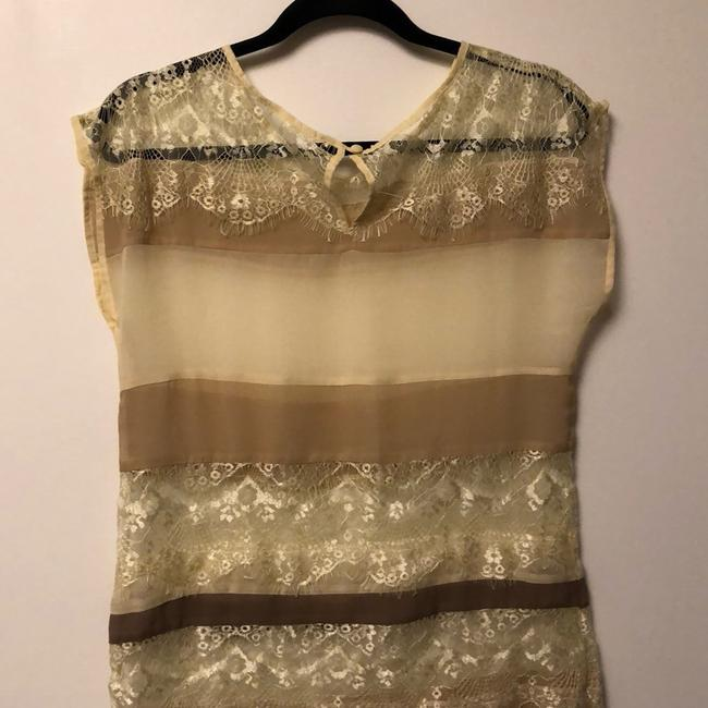 Unknown Lace Sheer Stripe Luxury Thin Top cream Image 6
