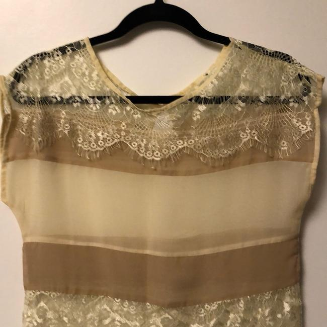 Unknown Lace Sheer Stripe Luxury Thin Top cream Image 7