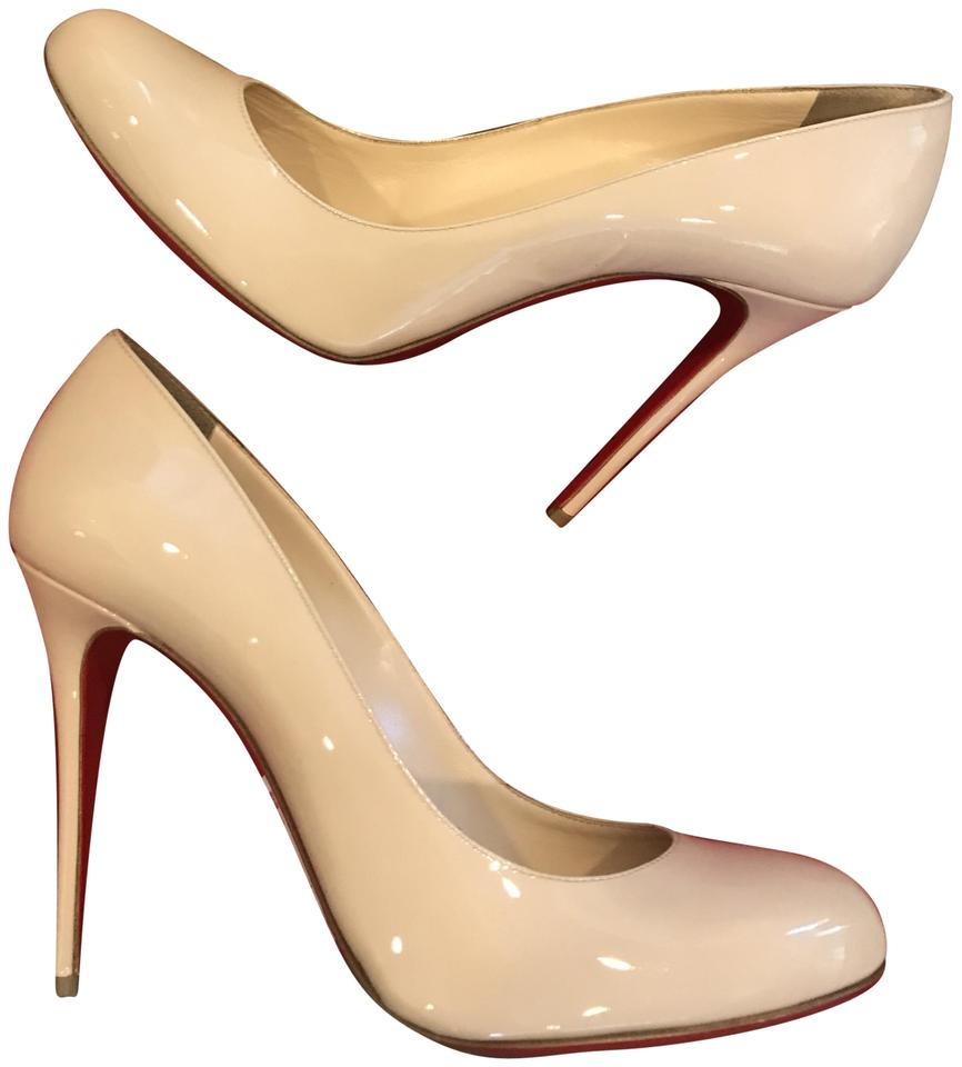 4d02f736325 Christian Louboutin Nude Fifi 100 Patent Leather Round Heels Pumps ...