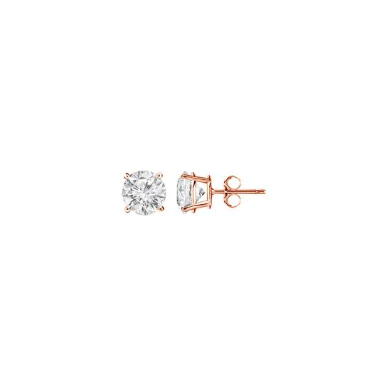 DesignByVeronica Designer April Birthstone Diamond Stud Earrings 14K Rose Gold Image 0