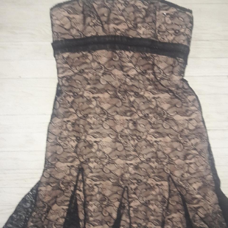 Badgley Mischka Black Lace Illusion Strapless Mid Length Formal Dress Size 14 L 73 Off Retail