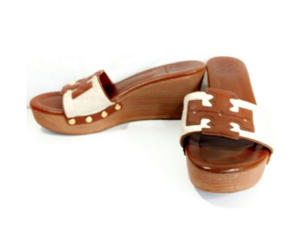 62b490711e6e7 Tory Burch Brown and Beige Patty Canvas   Leather Platform Wedge Slide  Sandals