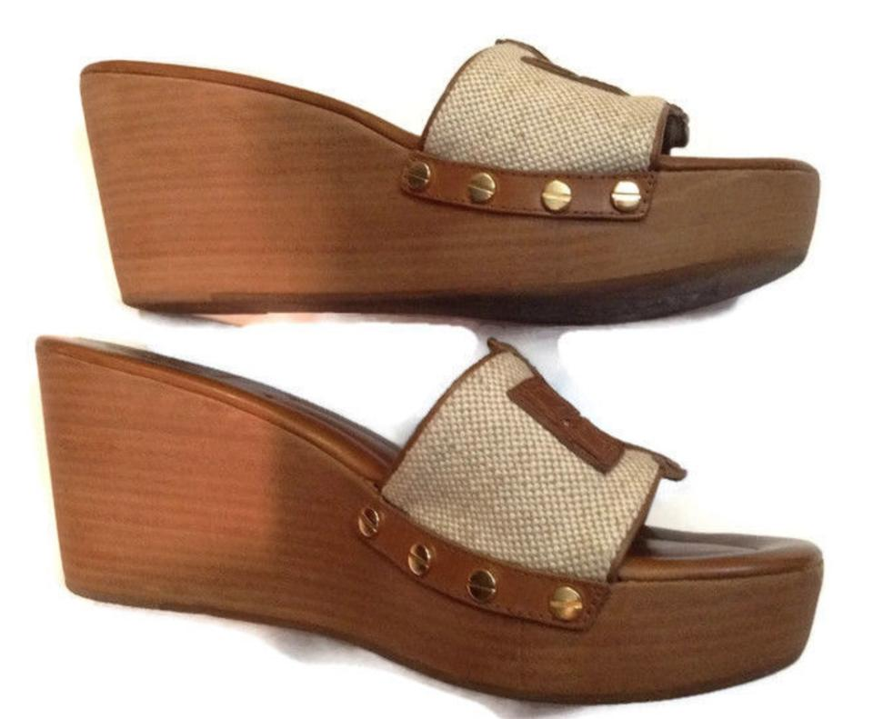3ebe29e667a8 Tory Burch Brown and Beige Patty Canvas   Leather Platform Wedge Slide  Sandals Size US 8 Regular (M