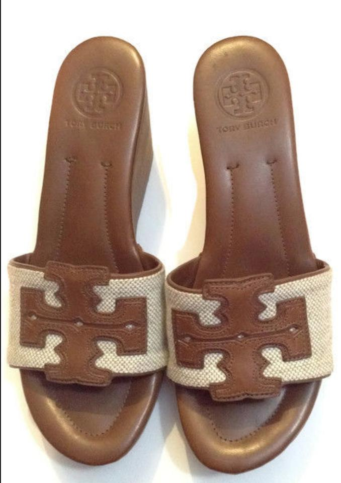 f2a2b6a690f Tory Burch Wedge Couture Leather Logo Sold Out New Brown and Beige Sandals  Image 7. 12345678