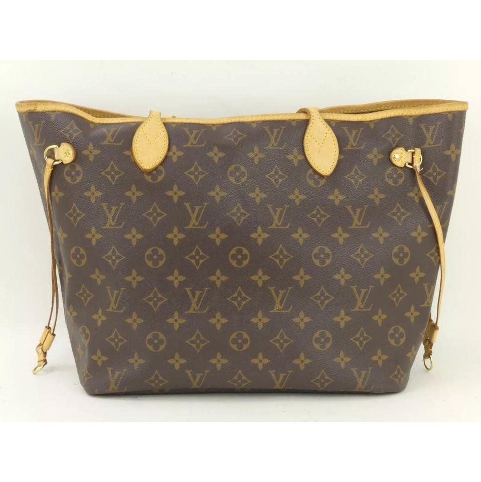 b66533b54908 Louis Vuitton Neverfull Monogram Mm Brown Leather Canvas Tote - Tradesy