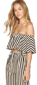 Amuse Society Stripe Off Shoulder Crop Top Black and Cream