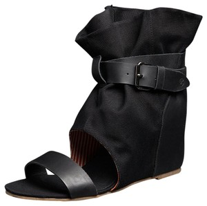 80%20 Wedge Linen Buckle Black Sandals