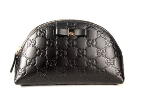 Gucci Gucci GG Black Leather Zip Top Cosmetic Case 6171