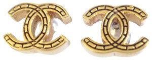 Chanel Chanel CC Logo Very Simple gold color Pierced Earrings