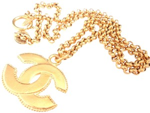 f16d1ebcefa Chanel Chanel vintage CC logo double side pendant long chain necklace ·  Chanel. Gold Plated ...