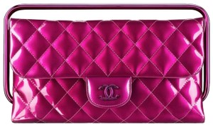 Chanel Patent Leather Quilted Summer Cc Metallic Pink Clutch