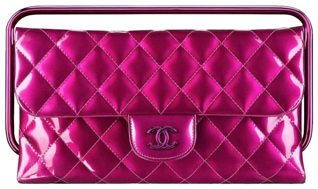 Item - Timeless Quilted Calfskin Cc Logo Handle Metallic Pink Patent Leather Clutch