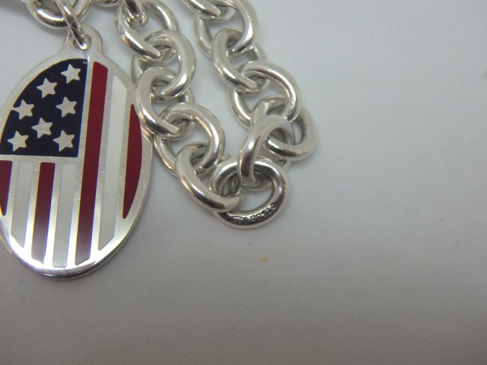 a07ba59021335 Tiffany & Co. Sterling Silver Round Chain with Enameled American Flag Charm  Bracelet 39% off retail
