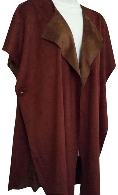 Item - Russet Orange Two Reversible Faux Suede Ruana/Wrap Poncho/Cape Size OS (one size)