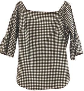 White House | Black Market Gingham Off-the-shoulder Cotton/Poly Machine Washable Top Black & White