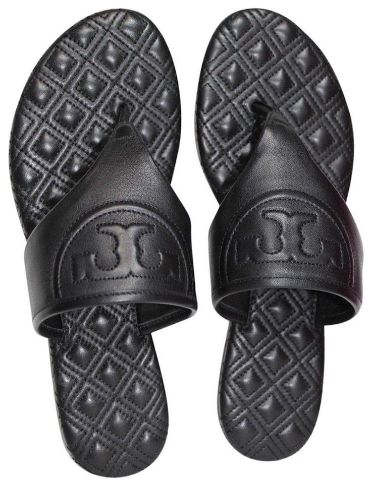9a0151c0be5b Tory Burch Black Logo Quilted Leather Flats Flip Flops Sandals Size ...