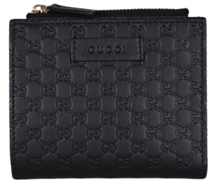 Gucci New Gucci 510318 Black Leather Micro GG Guccissima Card Case Wallet