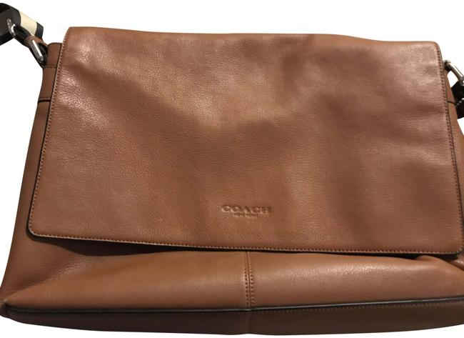 Item - Leather Tan with Navy and Cream Strap Messenger Bag