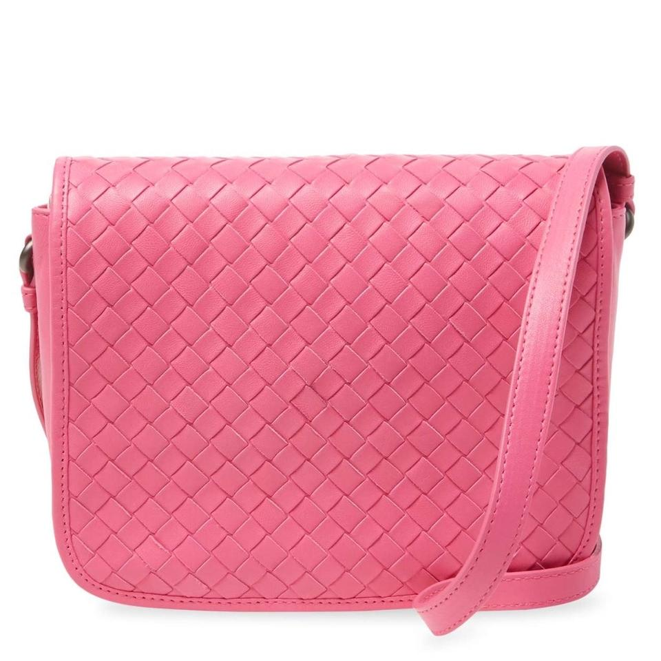 8eb43c68cf Bottega Veneta Intrecciato Pink Woven Nappa Leather Cross Body Bag ...