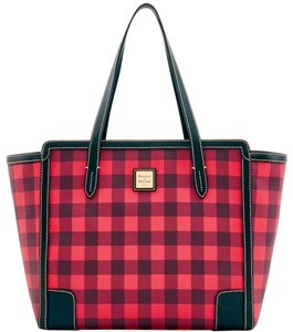 Dooney & Bourke Tucker Checkered Shopper Red Tote in Black