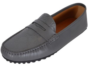 c6f96196d Gucci Grey New Men's 431063 Leather Gg Guccissima Loafers Drivers ...