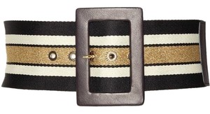 Alice + Olivia Black Leather Buckle Glitter Belt