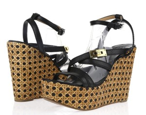 Tory Burch Leather Strappy Crisscross Strap Monogram Black Wedges