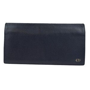 Dior Christian Dior Logos Long Bifold Wallet Purse Leather Black Spain