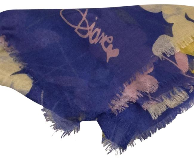 Item - Blue White Yellow Lavender Floral Meadow Scarf/Wrap