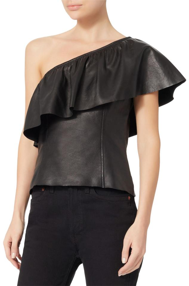 2c3c7d592c5 A.L.C. One Shoulder Leather Black Top - Tradesy