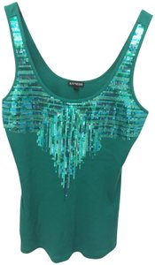 Express Sequins Geometric Sparkle Top Green