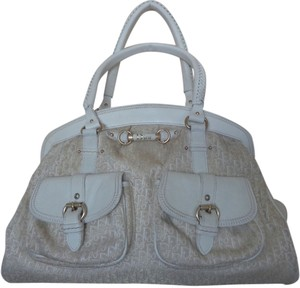 Dior Large Dust Gold Logo Print White Leather 'my Dior' Design Hobo Bag