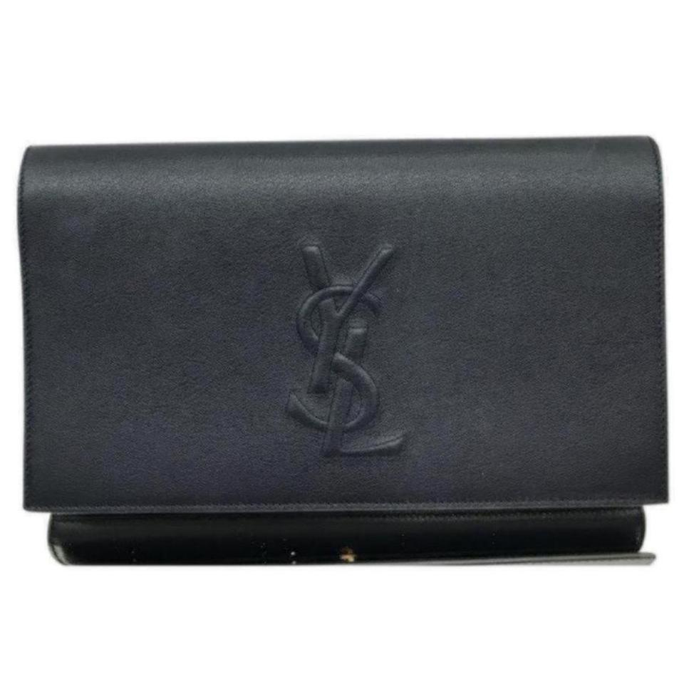 Leather Laurent Saint Ysl Jour Clutch Belle Black de xafqBHwfR