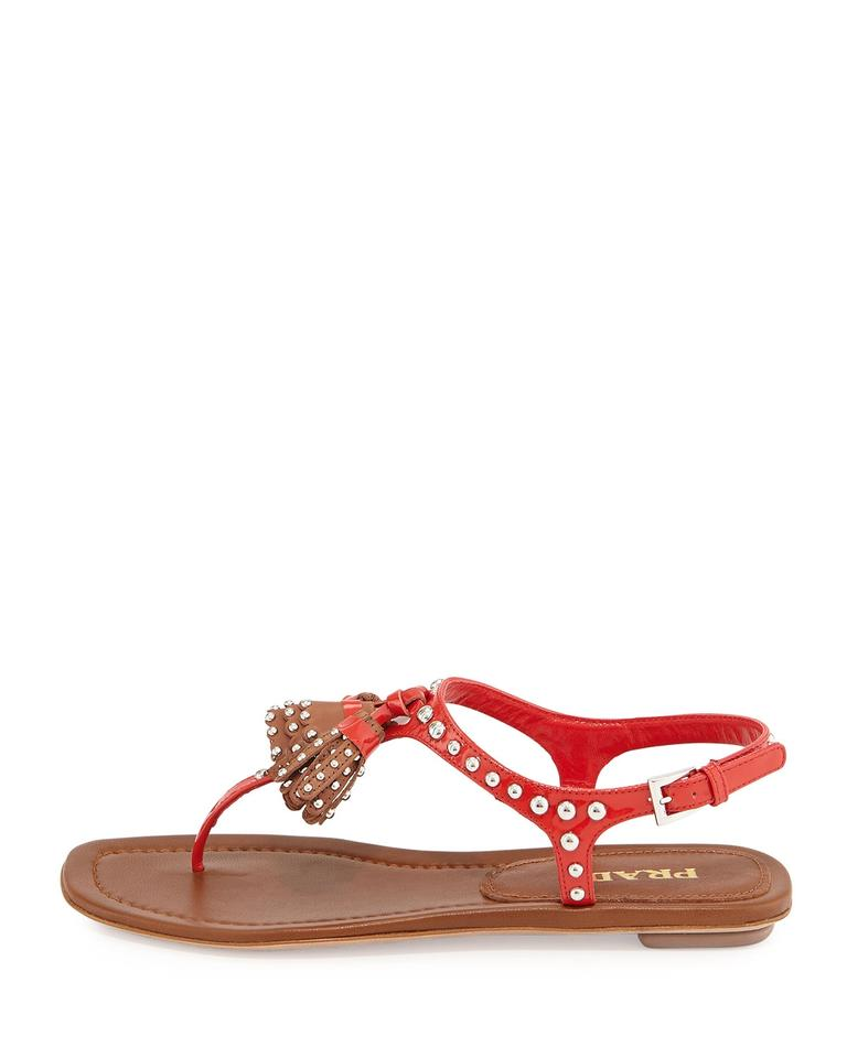 Prada Brown Red New Studded Tassel Brown Prada Sandals a47b64