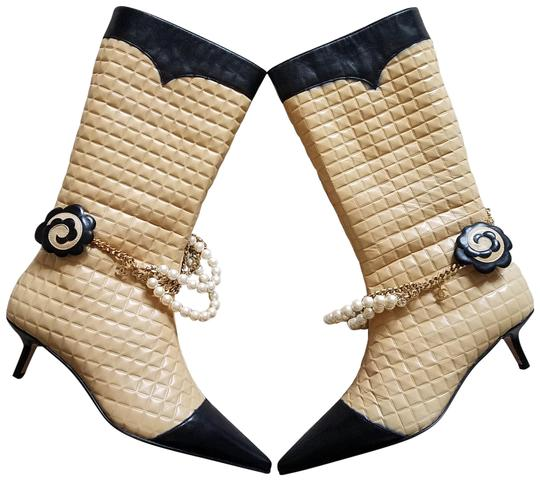 f709046d3a8 Chanel Beige Black Tan Quilted Leather Pointed-toe Mid-calf Boots/Booties  Size EU 38 (Approx. US 8) Regular (M, B) 52% off retail