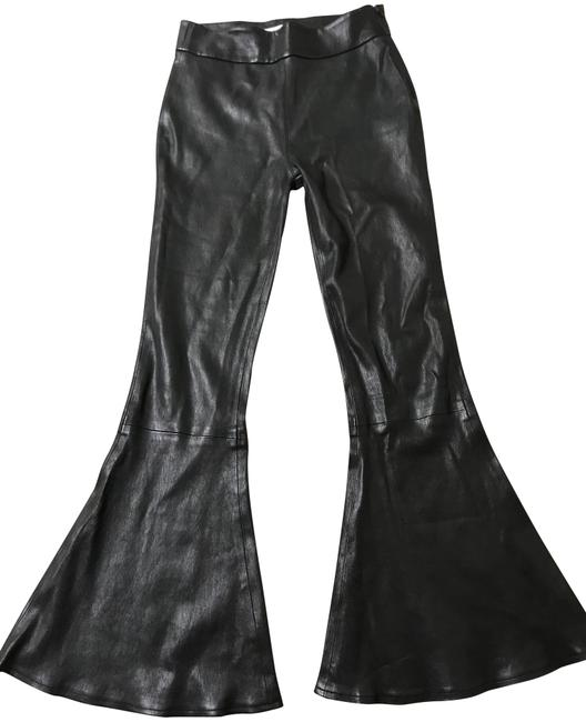 FRAME Black Flounce-hem Pull-on Fitted Leather Pants Size 00 (XXS, 24) FRAME Black Flounce-hem Pull-on Fitted Leather Pants Size 00 (XXS, 24) Image 1