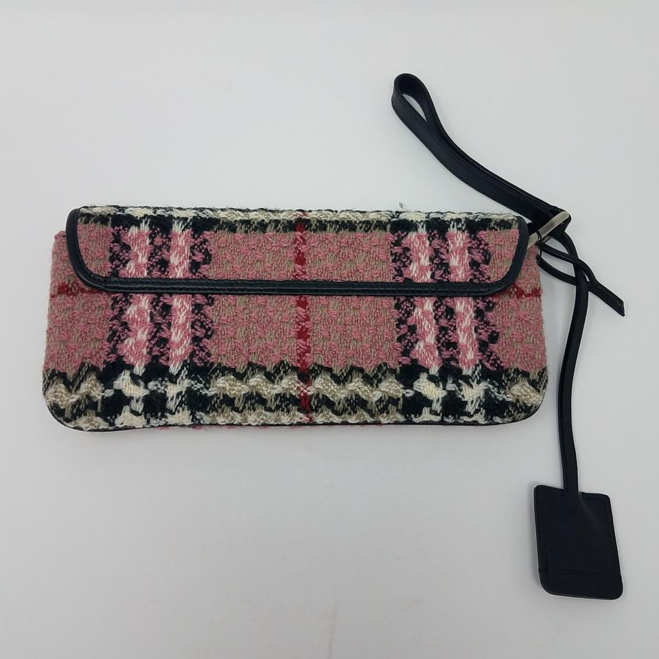 97c659a40eee Burberry Pink Red Black Silver Multicolor Check Patterned Knit London  Clutch Scarf Wrap - Tradesy