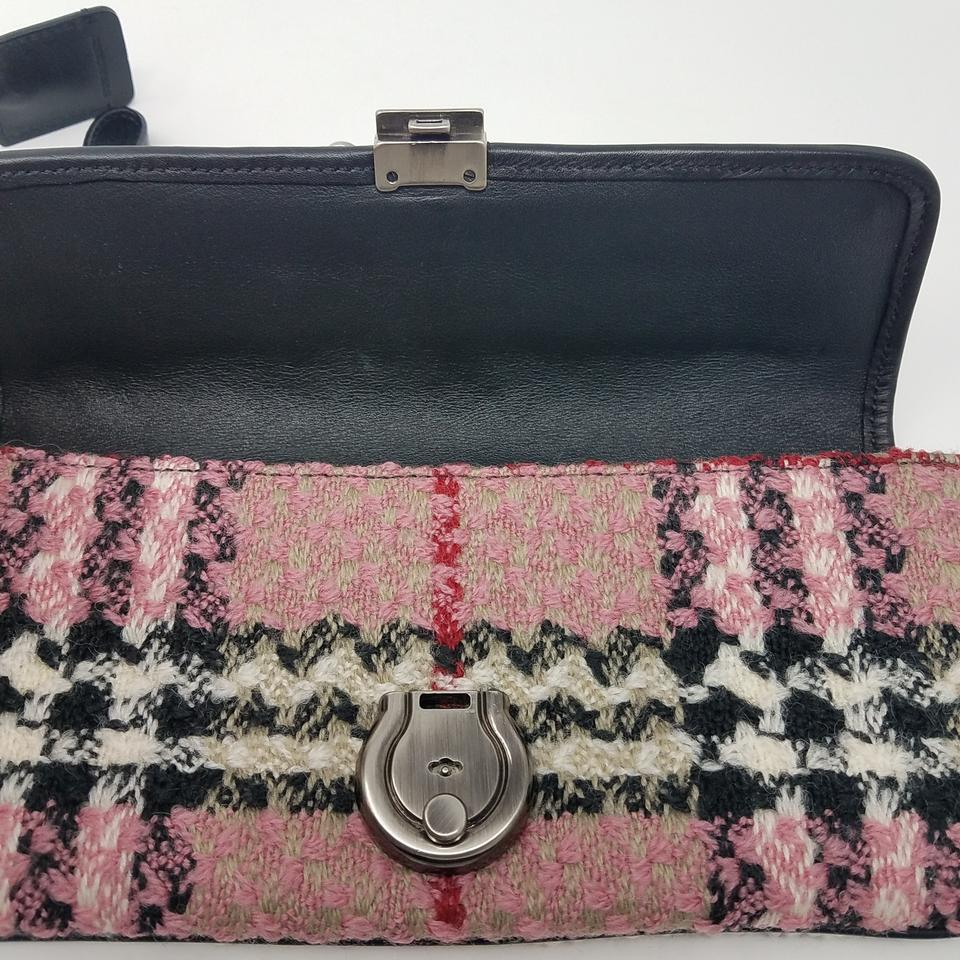 993c2d65fd6f Burberry Pink Red Black Silver Multicolor Check Patterned Knit ...