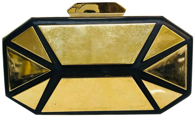 Item - Geometric Design with Strap Black Calf Leather and Metal Clutch